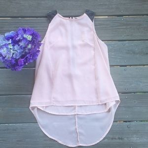 Pink/faux leather tank